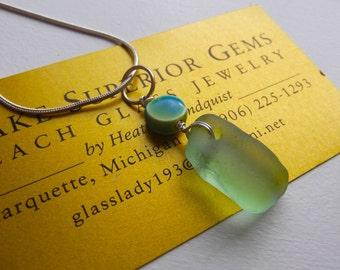 Simple Elegant AUTHENTIC Lake Superior Beach Glass Pendant Necklace SEAFOAM