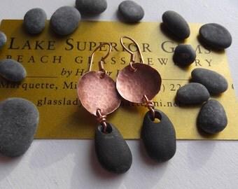 Hand Made Lake Superior Basalt Zen Stone Earrings w Hammered Copper Disks
