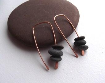 MODERN Lake Superior Speared and Stacked Basalt Zen Stone Earrings on Hammered Tip Copper Earrings