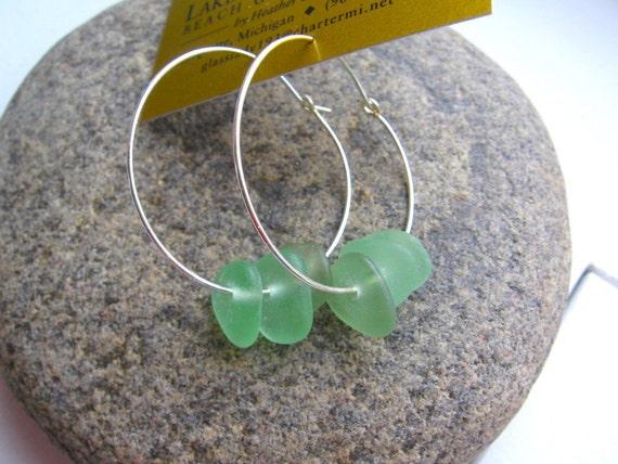 Authentic and Rare Multi Strung Sea Foam Green Lake Superior Beach Glass Hoop Earrings