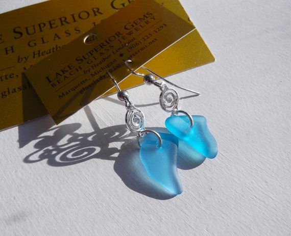 Authentic Lake Superior Shocking Blue Beach Glass Dangle Earrings w Sterling Swirl Beads