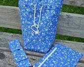Sock Knitting Bag, KIP WIP Project Bag, DPN case, Zipper Pouch, White Flowers on Blue Cotton, Lined, Drawstring, Crochet Bag, Inside Pockets