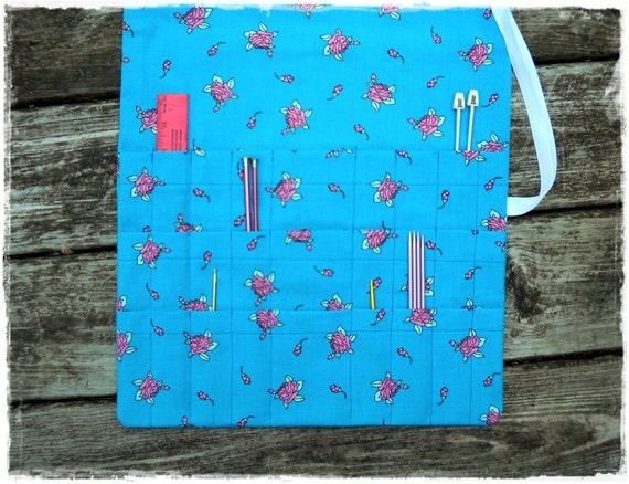 Knitting Needle Organizer Storage Case Roll Up 27 Pockets: 3 Rows of 9, Art brush roll. Washable cotton