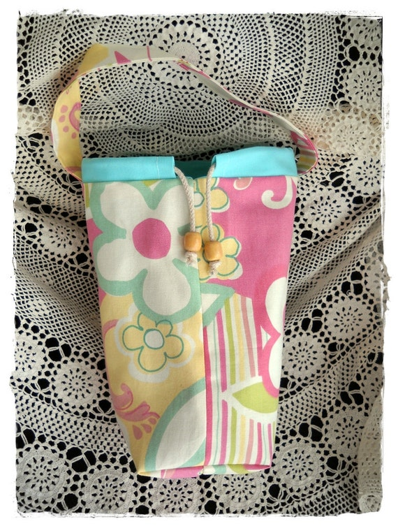 Knitting Bag, Fully Lined, Drawstring, Crochet or WIP Bag, Pockets, Mod Print Designer Cotton Canvas