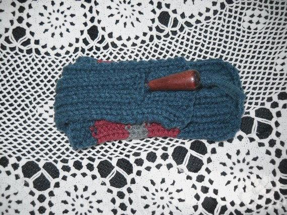 Cell Phone Case Handknit, Windsor Blue w Stripe, Fits most soft touch screen phones, Gadget Case, Very stretchy, Vegan