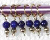 Lapis Lazuli Stitch Markers - Fit Needles Size 0 - 7