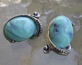 vintage synthetic turquoise clip earrings