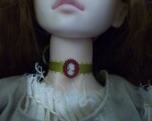 Doll-sized beaded cameo choker-- 3\/8 inch with gold ribbon and red beads