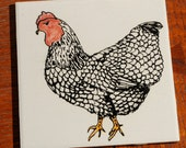 Pottery Tile with Chicken Decoration