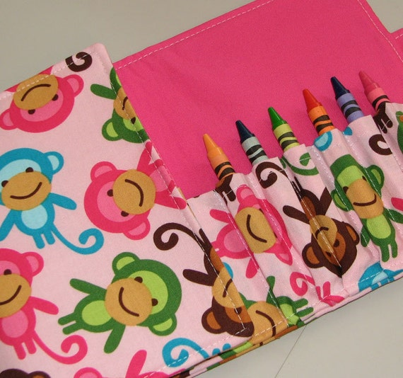 Crayon Wallet Monkeys in Spring by Anne Kelle Children's Coloring Hip Trendy Toddler Travel