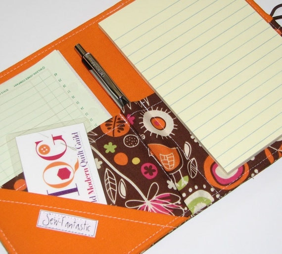 Mini Shopper Grochery list keeper - Notepad Clutch - WILD THYME in Orange  List taker