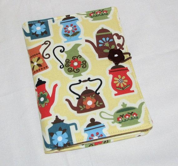 Mini Shopper - Notepad Clutch - Teapots Tea - Ready to ship