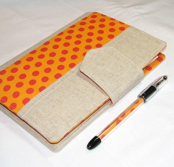 Kindle Cover NEW Style - Designer Carryall Clutch List taker  in Kaffe Fasset Orange Dot  Portfolio with zipper pocket
