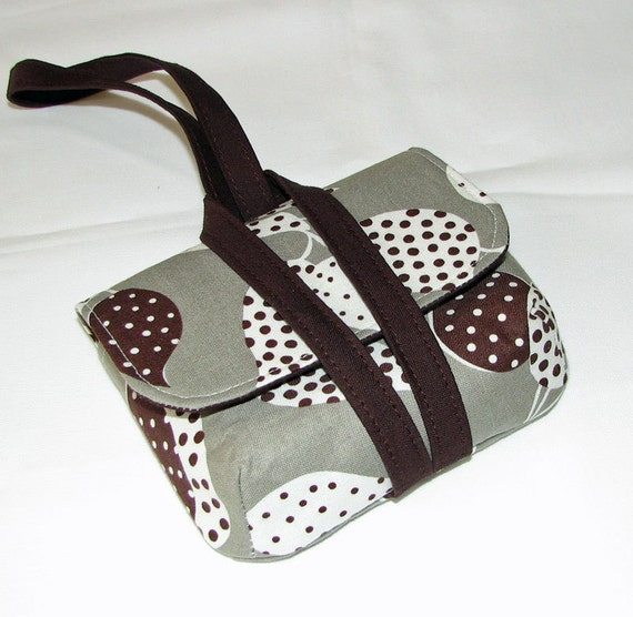 iPhone smart phone wristlet carry your necessities in style Flea Market Fancy Grey Dotted Leaves  with Dark brown s