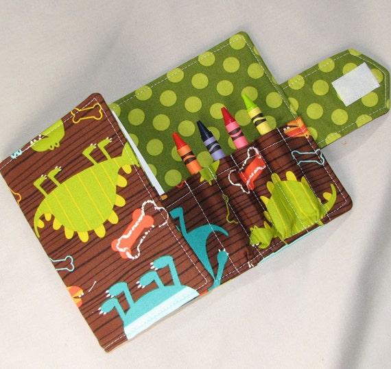 Crayon Cuties - Dino Dudes Tri-Fold Coloring  Wallet Perfect Party Favor
