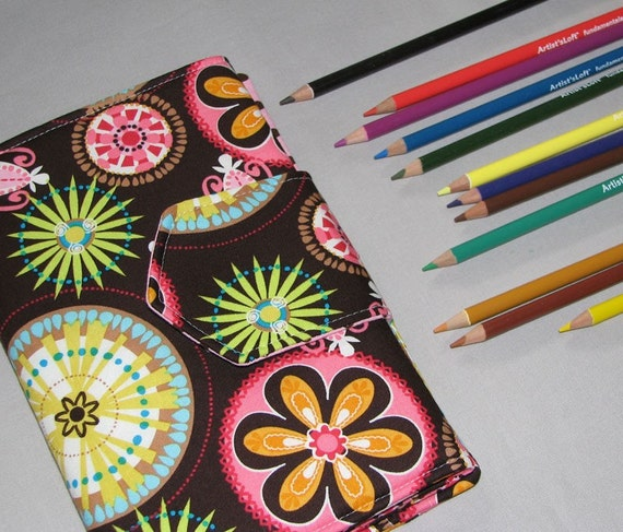 FREE SHIPPING - Carnival Bloom Sketcher Wallet  Colored Pencil Holder