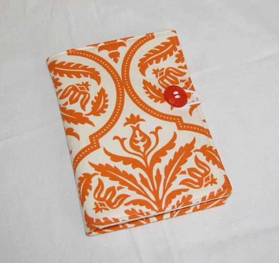 Mini Shopper - Gorchery List taker Notepad Clutch - Orange Damask