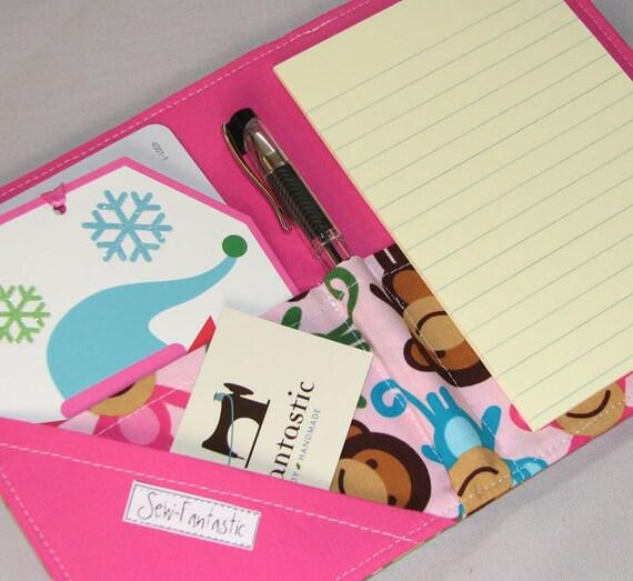List taker - Mini Shopper - Notepad Clutch -  Monkeys in Spring by Ann Kelle