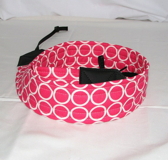 Camera Strap with hardware included DSLR or Slr Retro Modern Hot Pink circles Padded and Quilted