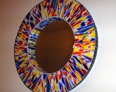 22 inch Multicolor Stained Glass Mosaic Mirror Speckled in Primary Colors