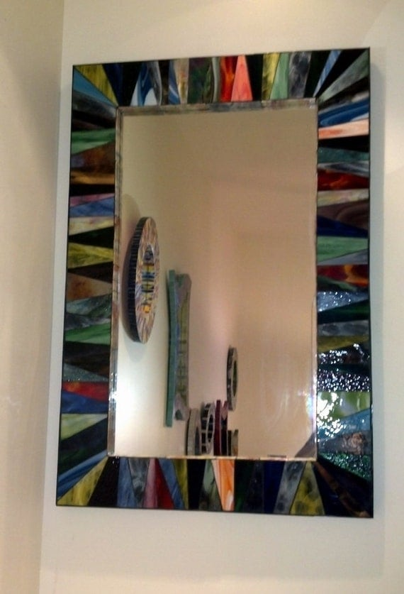 Multicolor Stained Glass Mosaic Mirror