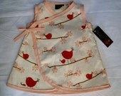 Sample SALE New ORGANIC Bird And Cherry Blossom Branch Kimono Dress size 6 months