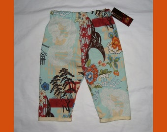 Pagoda - Dragon -  Japanese Baby Clothing - Cherry Blossom - Baby Pants - Girls Pants - Boys Pants - Conscious Children's - Size 6m