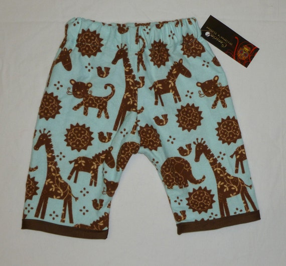 ON SALE New Baby Jungle Animals Flannel Baby Pants Size newborn-6m