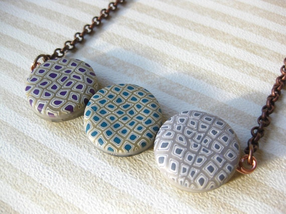 Clay necklace: purple, blue, gray, black and white polymer clay reversible necklace