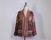 1970s ethnic boho cardigan / 70s space dye tribal hippie cardigan