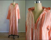1960s peach striped hooded beach cover up / 60s coral hand woven caftan