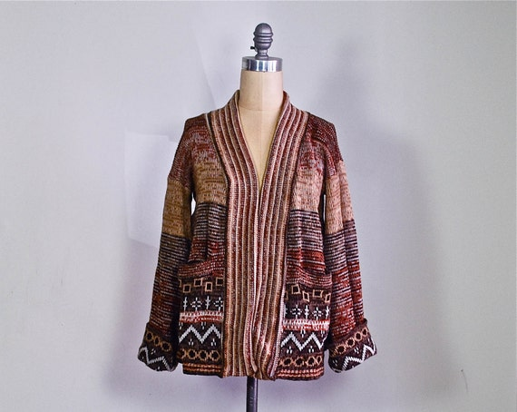 1970s ethnic boho cardigan / 70s space dye tribal hippie cardigan