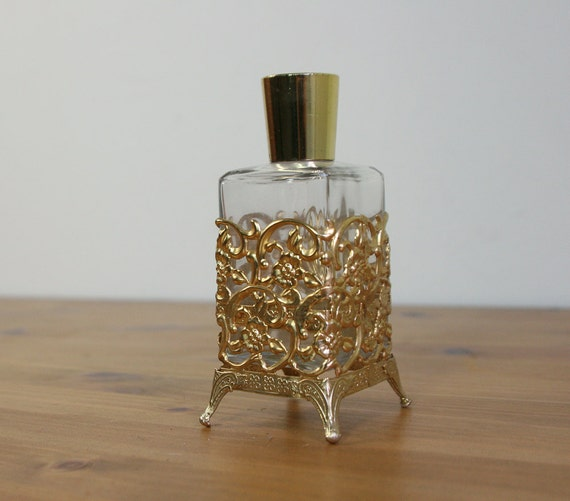 vintage 1950s art nouveau gold filigree lotion bottle / ornate perfume bottle