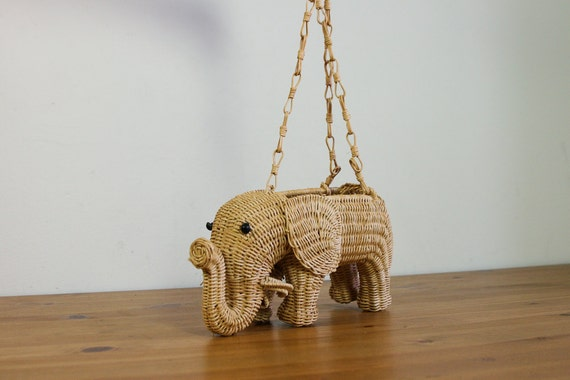 1970s straw elephant hanging planter / hanging basket