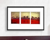 Print Boston triptych city  Birthday Gift art vintage style skyline cityscape canvas red gold colors vintage style Giclee