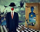Print steampunk poster canvas Surrealism  Birthday Gift Art modern golden blue tones  CANVAS  giclee