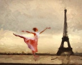 Print Paris ballerina  eiffel art Birthday Gift poster Vintage  artwork   Mixed Media  art   on canvas - ivory and sepia giclee