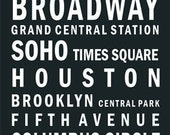 New York City Vintage bus scrolls on cotton canvas subway style black   white typography letters print by artistico Handmade Wall Decor
