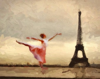 Print Paris Ballerina Ballet Paris  Birthday Gift art poster Vintage canvas Parisian Ballet ivory and sepia eiffel tower giclee