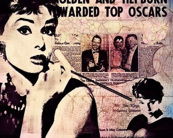 Print Audrey Hepburn  Birthday Gift art Canvas poster Vintage movie fine Print Poster  Breakfast at Tiffany's giclee