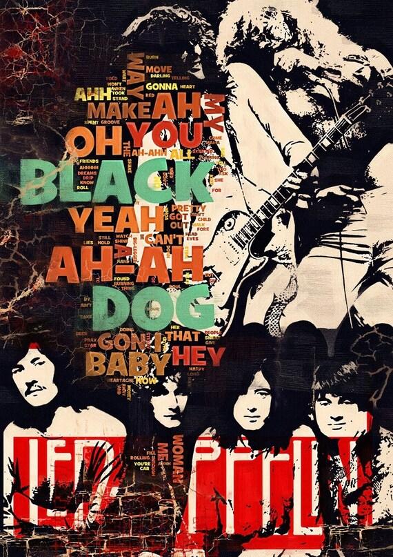 Print Led Zeppelin music poster  Birthday Gift art BLACK DOG poster Led Zeppelin illustration print canvas giclee