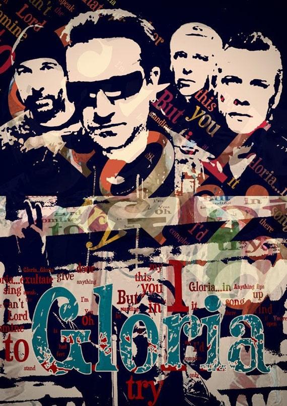 Print U2 Poster  Birthday Gift art music print Gloria Handmade Wall Decor Musical style print giclee