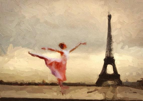 Print Paris Ballerina Ballet Paris  Birthday Gift art print poster Vintage canvas Parisian Ballet ivory and sepia giclee