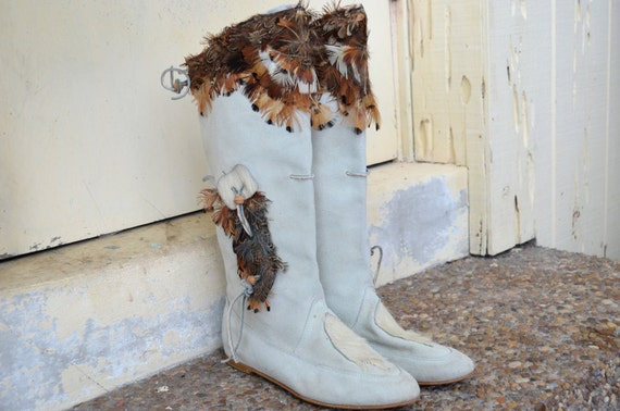 RESERVED - Vintage 80s Native American Indian Suede Leather Knee HIgh Boots Shoes