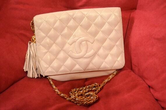 Vintage 80s White Chanel Tassel Flap Bag