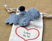 I'm Batty Over You Fabric Gift Bag with Knit Bat Fingerpuppet Toy