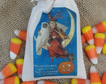 Witch and Owl Vintage Graphic Halloween Favor Bags, Set of 5