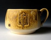 Large Square Mug or Soup Bowl with Feather Carving