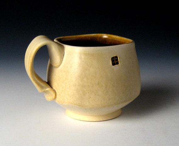 Square Coffee Mug with subtle Satin Tan Finish