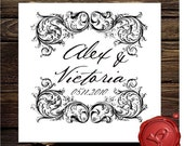 Vintage design save the date custom rubber stamp - wedding monogram - style HS1273